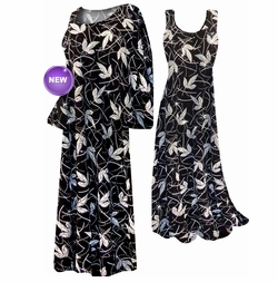 NEW! Black With Silver Leaves Glimmer Slinky Plus Size & Supersize Customizable Dresses, Shirts, Pants, Skirts  or Jackets Lg to 9x