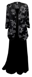HOT! Black with Silver Daisies Plus Size & Supersize Sweater Duster L XL 0x 1x 2x 3x 4x 5x 6x 7x 8x