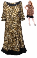 SALE! Black With Square Rhinestone Neckline Brown Leopard Print Plus Size Mid Length Dress 4x 5x 6x