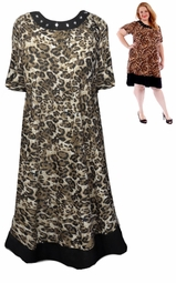 SALE! Black With Square Rhinestone Neckline Brown Cheetah Print Plus Size Mid Length Dress 4x 5x