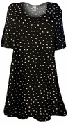SOLD OUT! Black With White Mini Hearts Print Supersize Extra Long T-Shirts 3x