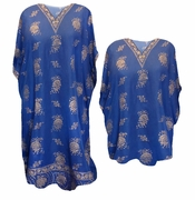 NEW! Blue Decor Print Plus Size & Supersize Caftan Dress or Shirt 1x to 6x