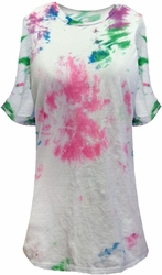 NEW! Blue Green Purple Tie Dye Plus Size T-Shirt 5XL