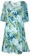 SALE! Blue Green Tropical Fern Leaves Print Supersize A-Line Extra Long T-Shirts 3x 4x