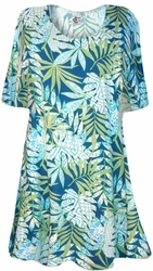 NEW! Blue Green Tropical Fern Leaves Print Supersize Extra Long T-Shirts 0x 1x 2x 3x 4x 5x 6x 7x 8x 9x Customizable!