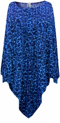 NEW! Blue Leopard Glittery Slinky Plus Size Supersize Poncho