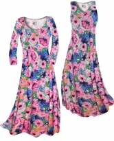 NEW! Customize Blue & Pink Wildflowers Slinky Print Plus Size & Supersize Standard or Cascading A-Line or Princess Cut Dresses & Shirts, Jackets, Pants, Palazzo's or Skirts Lg to 9x