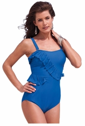 SALE! Blue Ruffled Peplum Maillot Plus Size Swimsuit Size 24W 28W 30W 32W 34W