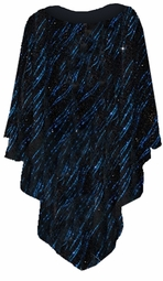NEW! Blue Streaks Glimmer Slinky Print Plus Size Supersize Poncho