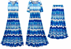 NEW! Blue & White Abstract Slinky Print - Plus Size Slinky Dresses Shirts Jackets Pants Palazzo�s & Skirts - Sizes Lg to 9x