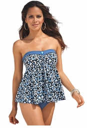 SALE! Blue & White Leopard With Jewel One Piece Removable Straps Plus Size Swimdress 5x/34W