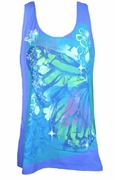 NEW! Bright Blue Monarch Butterfly Glittery Plus Size Tank Top 2x 3x 4x