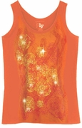 NEW! Bright Orange Mini Flowers Glittery Floral Plus Size Tank Top 5x