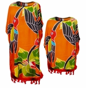 SALE! Bright Orange & Red Parrot Rayon Print Plus Size & Supersize Caftan Dress or Shirt 1x to 6x
