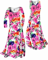 Customizable Bright Pink & Orange Bellflowers Floral Slinky Print Plus Size & Supersize Standard or Cascading A-Line or Princess Cut Dresses & Shirts, Jackets, Pants, Palazzo's or Skirts Lg to 9x