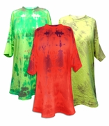 SALE! Bright Yellow or Neon Green or Watermelon Red Tie Dye Plus Size T-Shirts 4x