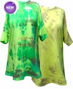 FINAL SALE! Bright Yellow or Neon Green Tie Dye Plus Size T-Shirts 4XL - $12.99 ea, or TWO FOR $19.99!