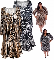 NEW! Brown or Black Babydoll Style Half Sleeve Mid Length Plus Size Slinky Dress 4x 5x 6x