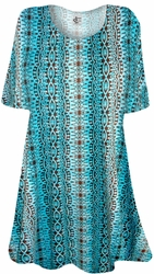 NEW! Brown & Turquoise Foulard Print Supersize Extra Long T-Shirts 0x 1x 2x 3x 4x 5x 6x 7x 8x 9x Customizable!