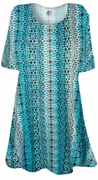 SALE! Brown & Turquoise Foulard Print Supersize Extra Long T-Shirts 3x