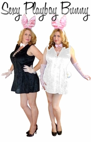 NEW! Sexy Playboy Bunny White or Black Plus Size Supersize Halloween Costume + Add Accessories! Sizes Lg to 9x