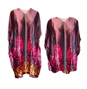 NEW! Burgundy & Magenta Abstract Monarch Print Plus Size & Supersize Caftan Mid Length Dress or Shirt 1x to 6x