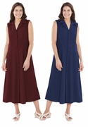 NEW! Burgundy or Navy Blue Fit and Flare Tank Button Up Plus Size Dress 4x/30W  5x /34W
