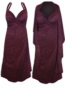 SALE!  Burgundy With Silver Glimmer Slinky Plus Size SuperSize Princess Seam Dress Set 0x 1x 2x 3x 4x 5x 6x 7x 8x