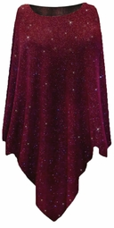Burgundy With Glittery Gold Dots Slinky Print Plus Size Supersize Poncho