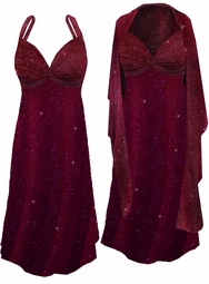 Burgundy With Gold Glittery Dots Slinky Print 2 Piece Plus Size SuperSize Princess Seam Dress Set  0x 1x 2x 3x 4x 5x 6x 7x 8x
