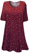 SALE! Burgundy With Pink & White Mini Hearts Print Supersize Extra Long T-Shirts 2x
