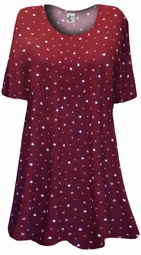 SALE! Burgundy With Pink & White Mini Hearts Print Plus Size & Supersize Extra Long T-Shirts 2x