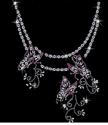Butterfly Chain Neckline Sparkly Rhinestud Rhinestones Plus Size & Supersize T-Shirts S M L XL 2x 3x 4x 5x 6x 7x 8x (All Colors)