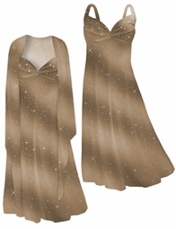 Cafe' Au Lait! Brilliant Brown & Tan Glitter Oblique 2 Piece  Plus Size SuperSize Princess Seam Dress Set  0x 1x 2x 3x 4x 5x 6x 7x 8x 9x