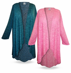 SALE! Cascading Plus Size & Supersize Duster Jacket in Pink Lg Xl 0x 1x 2x 3x 4x 5x 6x 7x 8x 9x