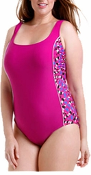 SALE! Fuschia Sporty H-Back One Piece Plus Size Swimsuit with Side Insets 3x/22-24W