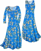 Customizable Cerulean Blue With Oriental Lily Slinky Print Plus Size & Supersize Standard or Cascading A-Line or Princess Cut Dresses & Shirts, Jackets, Pants, Palazzo's or Skirts Lg to 9x
