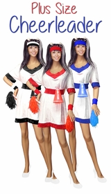 NEW! Cheerleader in Red, Royal Blue or Black Plus Size & Supersize Halloween Costume and Accessory Kit! Sizes Lg to 9x