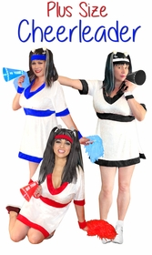 SALE! Cheerleader in White/Red, White/Royal Blue or White/Black Plus Size & Supersize Halloween Costume and Accessory Kit! Sizes Lg XL 1x 2x 3x 4x 5x 6x 7x 8x 9x
