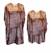 Chocolate Brown With Swirls Print Plus Size & Supersize Caftan Mid Length Dress or Shirt 1x to 6x