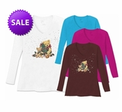 SALE! Christmas Teddy Bears Plus Size V Neck Long Sleeve Shirt 5x -White-Teal-Raspberry-Brown