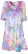 CLEARANCE! Colorful Pastel Semi-Sheer Plus Size & Supersize Extra Long Swimsuit Coverup X-Long T-Shirt  1x 8x