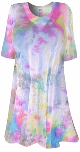 Colorful Pastel Semi-Sheer Plus Size & Supersize Extra Long Swimsuit Coverup or Overshirt T-Shirts  4x  6x 7x 8x Customizable!