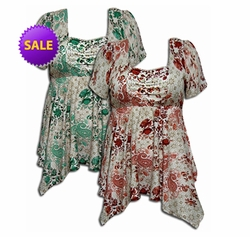 SALE! Coral or Teal Floral Paisley Crepe Babydoll Plus Size Supersize Tops! Abstract Sizes 4x