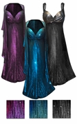 CLEARANCE 2-Piece Black Slinky w/ Metallic Vertical Lines in Fuchsia or Silver - Plus Size & SuperSize Princess Seam Dress Set 3x