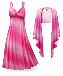 SALE! Customizable 2-Piece Pink Waves Glittery Satin Plus Size & SuperSize Princess Seam Dress Set 0x 1x 2x 3x 4x 5x 6x 7x 8x