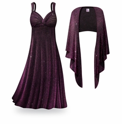 NEW! Customizable 2-Piece Purple Glimmer Plus Size & SuperSize Princess Seam Dress Set Lg XL 0x 1x 2x 3x 4x 5x 6x 7x 8x 9x
