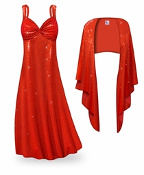 SALE! 2-Piece Red Glimmer & Sequins Plus Size & SuperSize Princess Seam Dress Set 2x