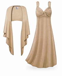 SOLD OUT! NEW! Customizable 2-Piece Tan with Silver Glimmer Plus Size & SuperSize Princess Seam Dress Set Lg XL 0x 1x 2x 3x 4x 5x 6x 7x 8x 9x