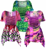 Customizable! Beautiful Colorful Slinky Print Supersize & Plus Size Babydoll Tops 0x 1x 2x 3x 4x 5x 6x 7x 8x